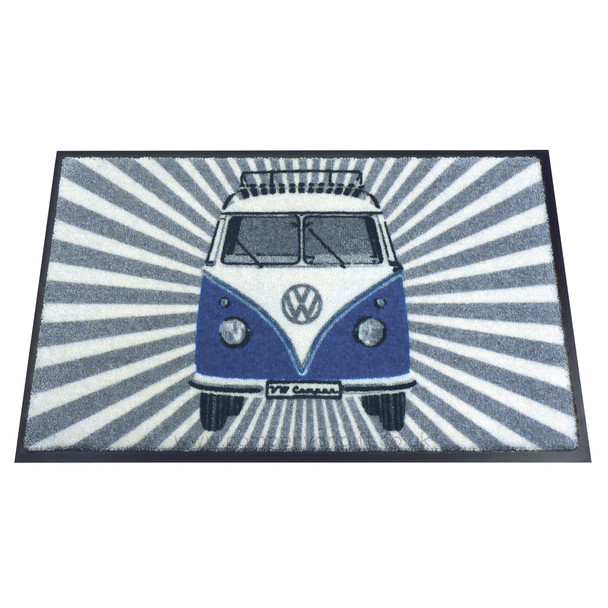 Blue Front Facing VW Campervan Stripes Doormat