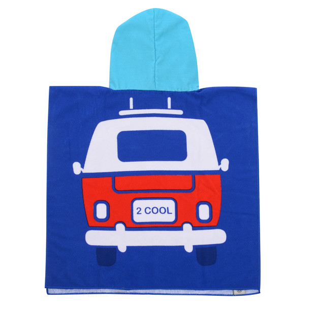 Volkswagen Campervan Kids Blue Beach Poncho