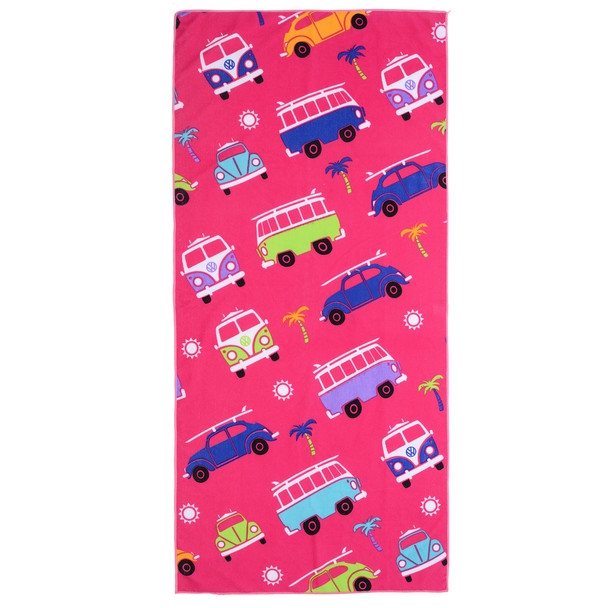 VW Campervan and Beetle Kids Pink Beach Towel