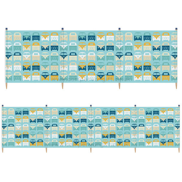 Volkswagen Campervan Blue Beach Windbreak