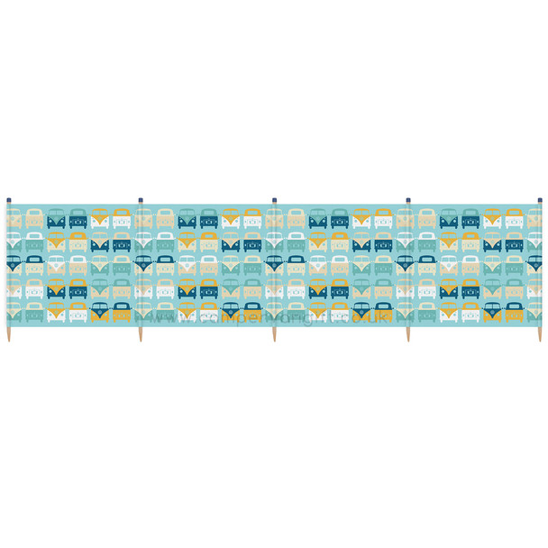 Volkswagen Campervan Blue Beach Windbreak - 5 Pole Version