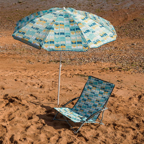 Volkswagen Campervan Blue Beach Parasol - (Chair available to purchase at extra cost)