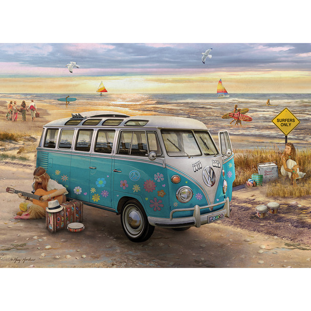 Volkswagen Love and Hope Campervan 1000 Piece Puzzle - Completed Puzzle