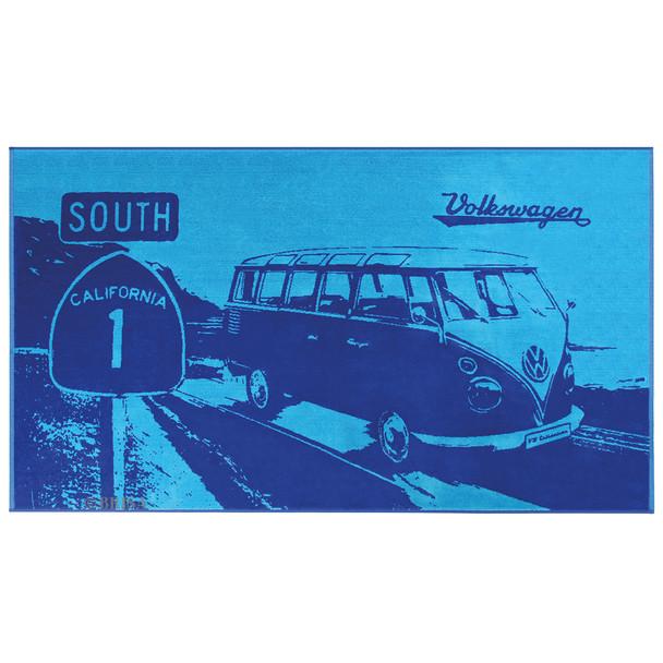 Volkswagen Blue Campervan Highway Beach Towel