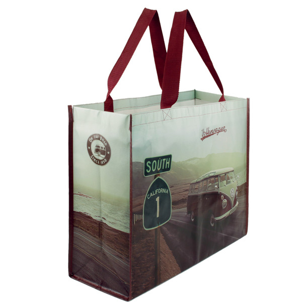 Volkswagen Campervan Red Highway Reusable Shopper Bag