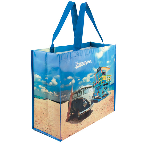 Volkswagen Campervan Blue Beach Reusable Shopper Bag