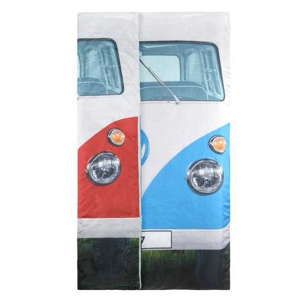 Volkswagen Campervan Reversible Double Sleeping Bag - Showing both colour sides