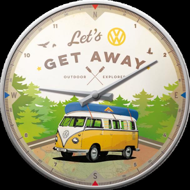 Volkswagen Campervan Lets Get Away Wall Clock