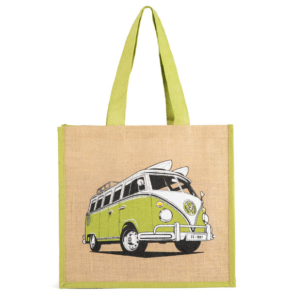 Volkswagen Campervan Green Reusable Shopper Jute Bag