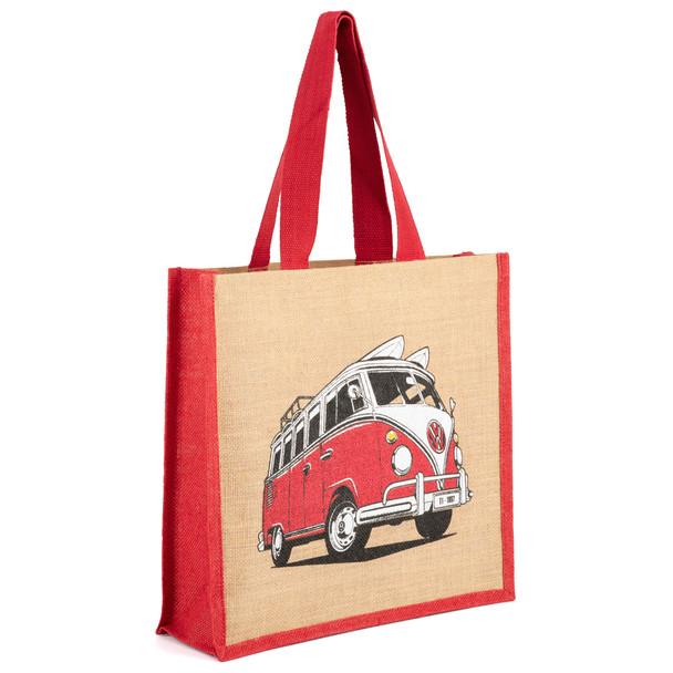Volkswagen Campervan Red Reusable Shopper Jute Bag