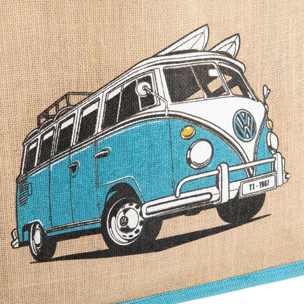 Volkswagen Campervan Blue Reusable Shopper Jute Bag