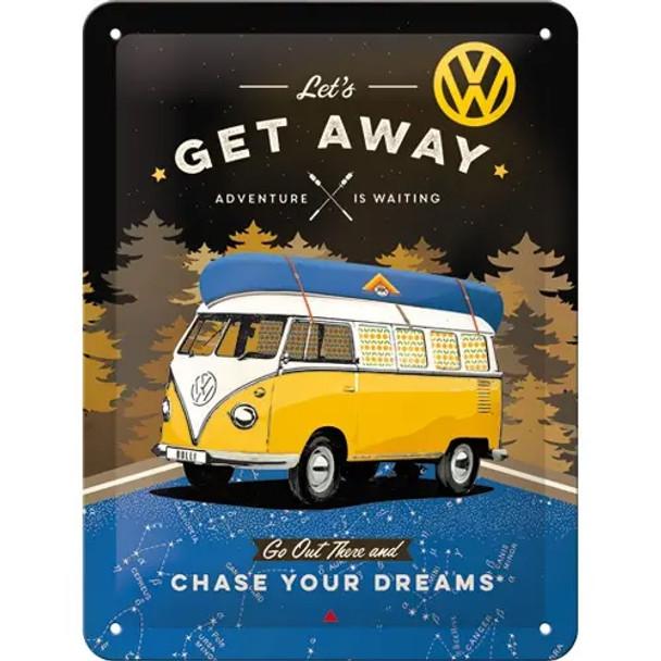 Volkswagen Campervan Lets Get Away Black Metal Tin Sign