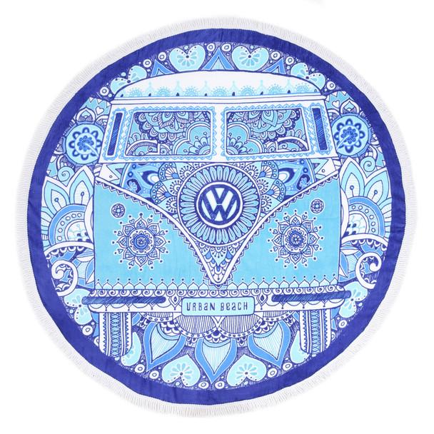 Volkswagen Campervan Peace & Love Round Beach Towel