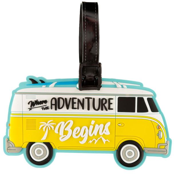 Volkswagen Campervan Adventure Begins PVC Luggage Tag