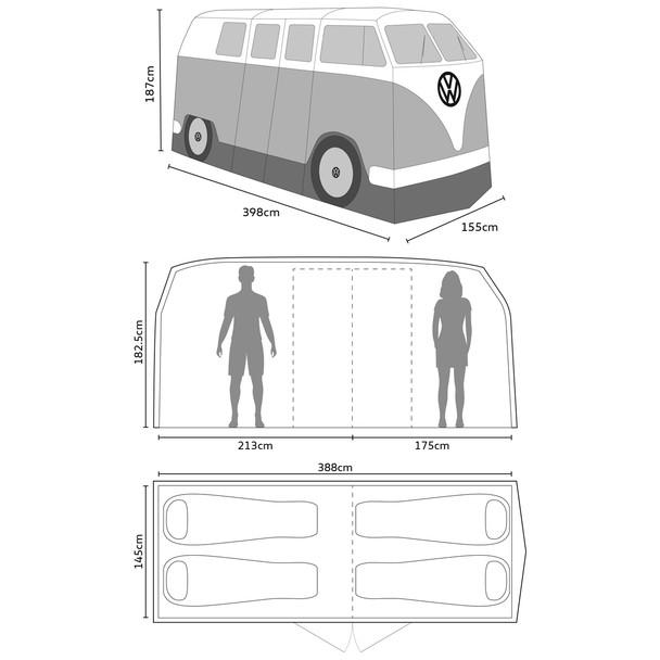 Volkswagen Campervan 4 Man Adult Tent - Inside Layout