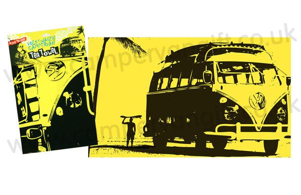 VW Campervan Surf Silhouette Yellow Tea Towel