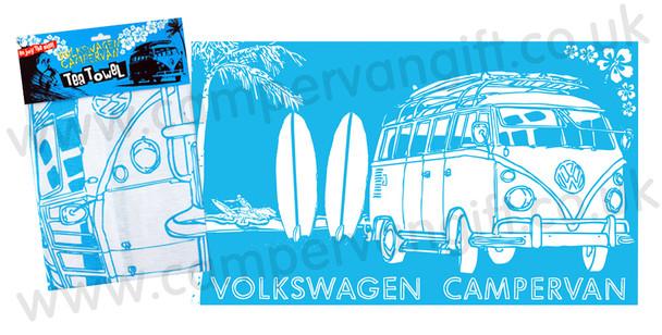 VW Campervan Surf Sketch Blue Tea Towel