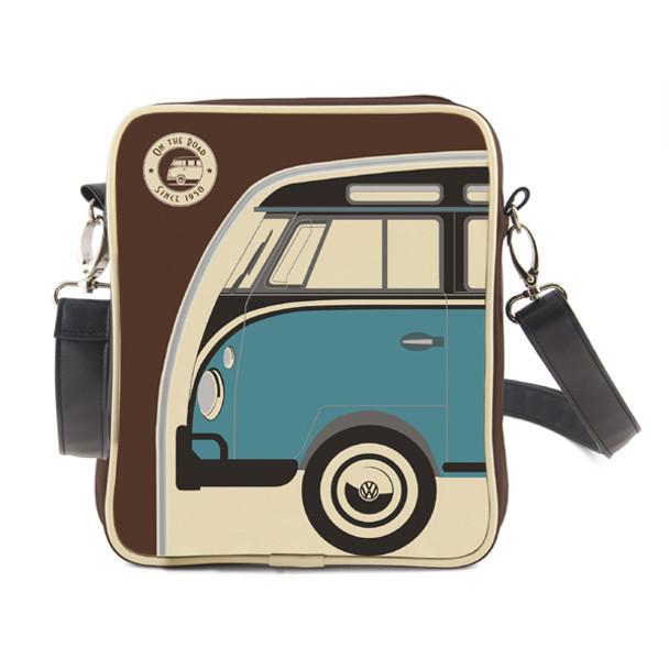 Small Retro Blue and Brown Campervan Tablet Shoulder Bag