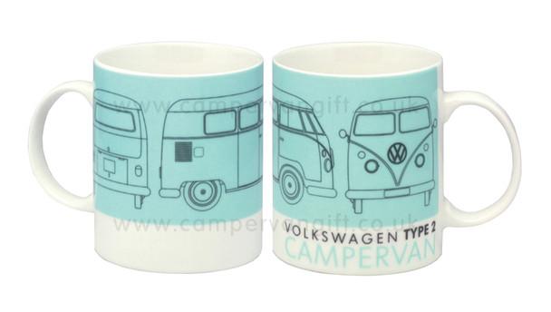 Volkswagen Type 2 Turquoise Campervan Mug