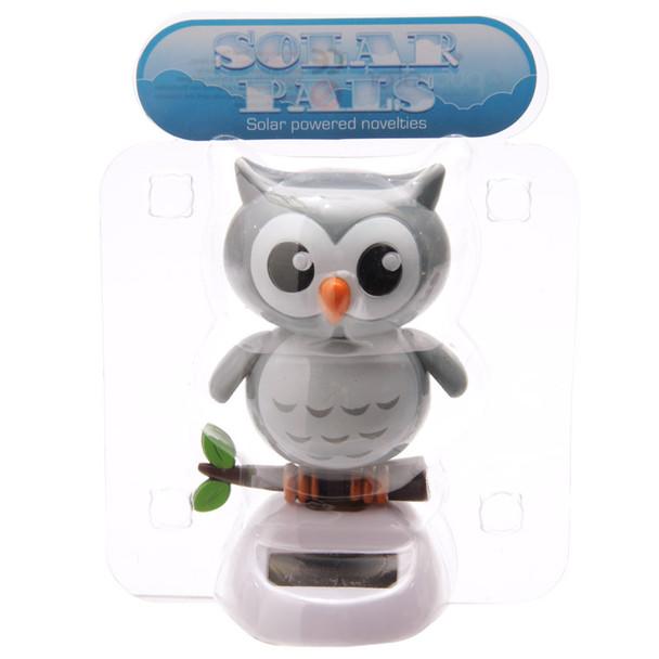 Solar Powered Dancing Owl - Grey