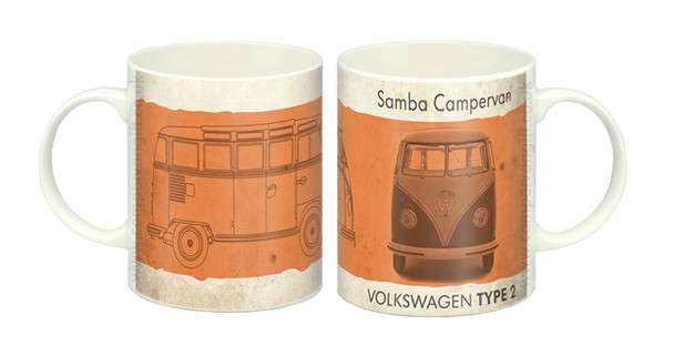 VW Vintage Orange Samba Campervan Mug