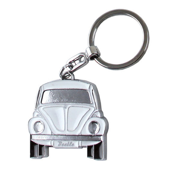 Official VW White Beetle Metal Keyring - Includes Gift Tin Case