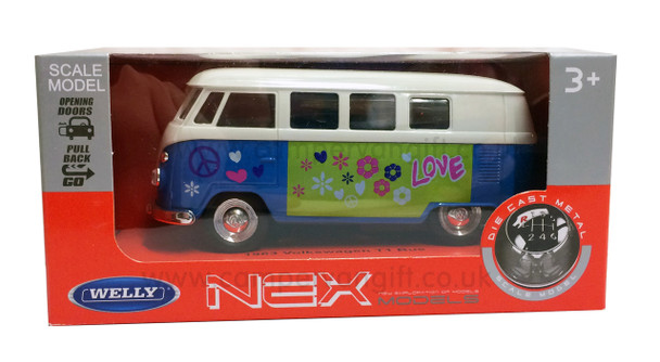 Blue Diecast Campervan Pull Back & Go Toy Model
