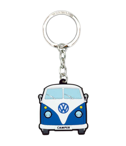 VW Campervan Rubber Keyring - Front View - Blue