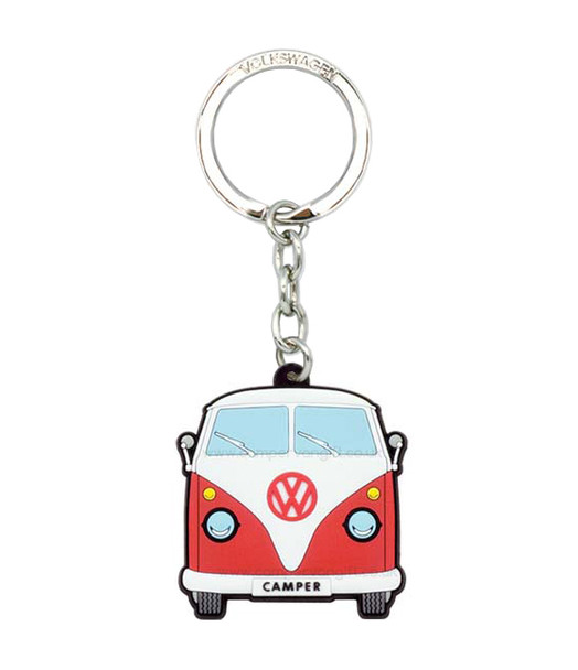 VW Campervan Rubber Keyring - Front View - Red