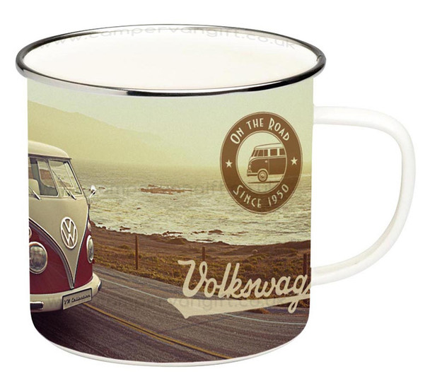 VW T1 Campervan Beach Highway Enamel Tin Mug