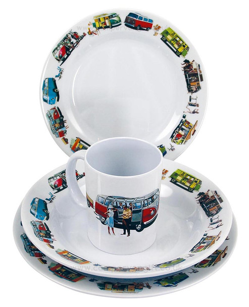 VW Split & Bay Campervan Melamine 8 Piece Tableware Set