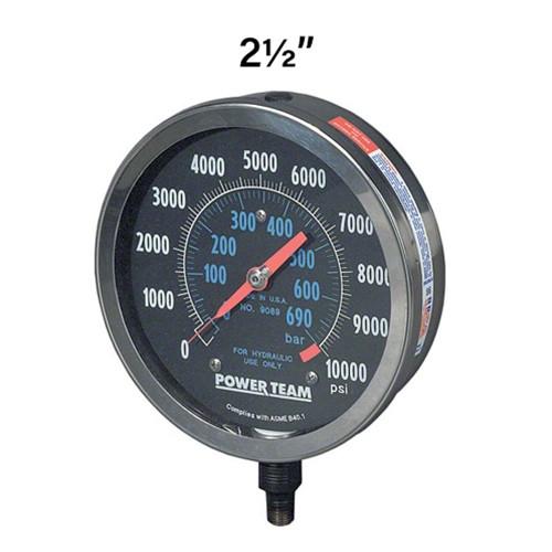 "9040 Power Team Hydraulic 2.5"" Pressure Gauge"
