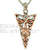 PPX6214-3 Keith jack jewelry butterfly Sterling Silver + 10k Rose Gold Butterfly Pendant with Sky Blue Topaz & White CZ Double Sided by Keith Jack