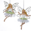 Green and White Fairy Ornament 2 Piece Set