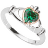 Sterling Silver & Rose Gold Claddagh Ring with center  green stone