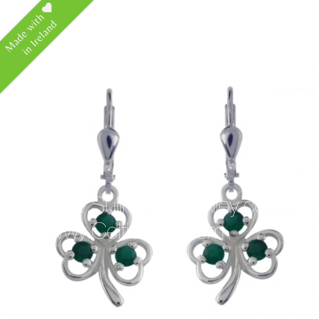 5e101a4e4 3 Stone Shamrock Earrings Sterling Silver With Green Agate ...
