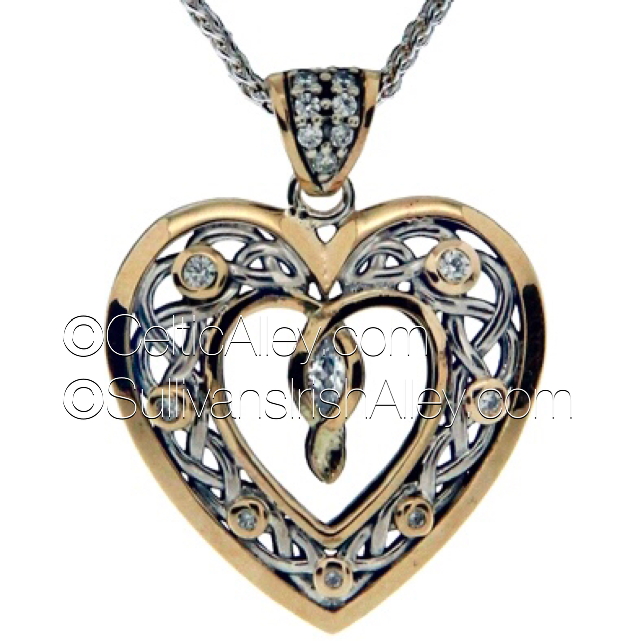 01108193a927f Keith Jack s new Sterling Silver with 10k yellow gold Cubic Zirconia stone  set heart pendant PPX9165