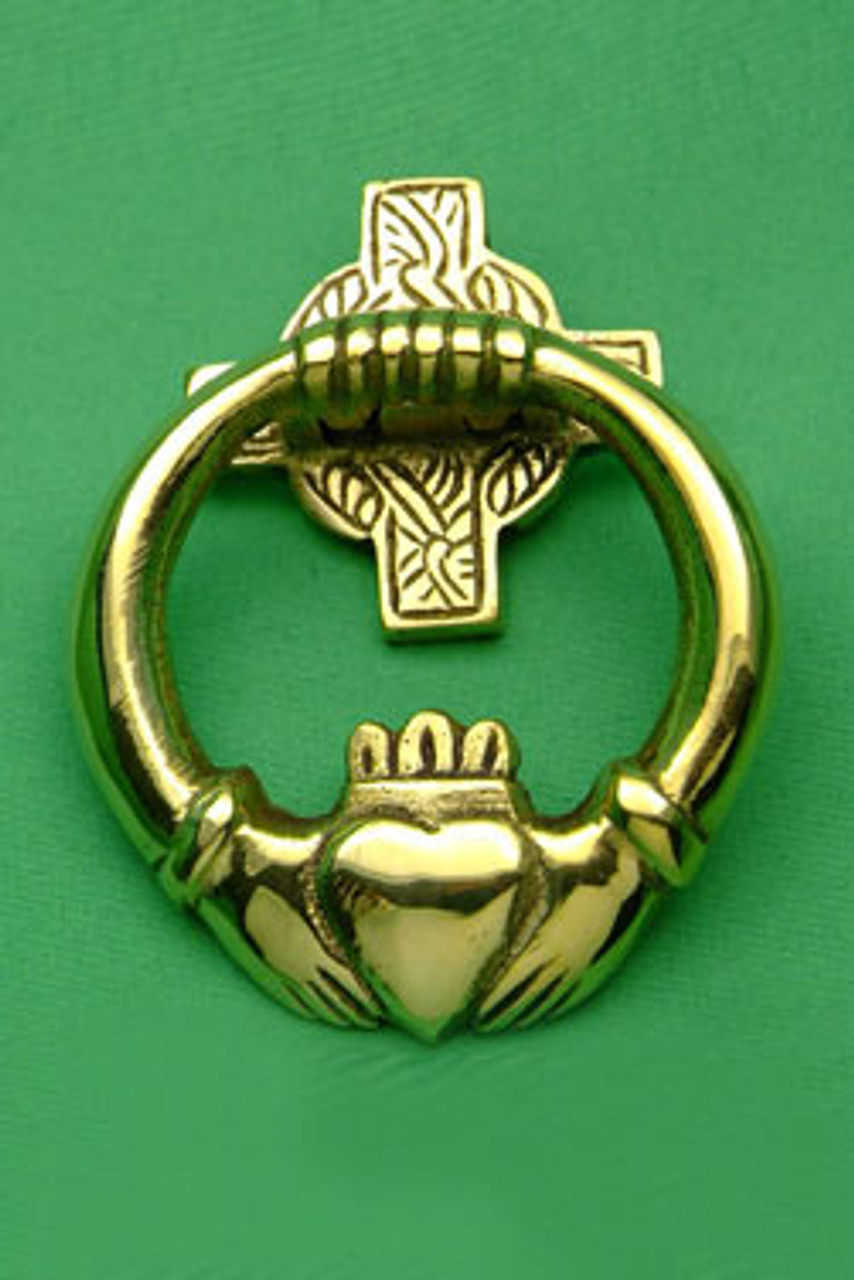 Brass Door Knocker Claddagh Medium Celticalley Com