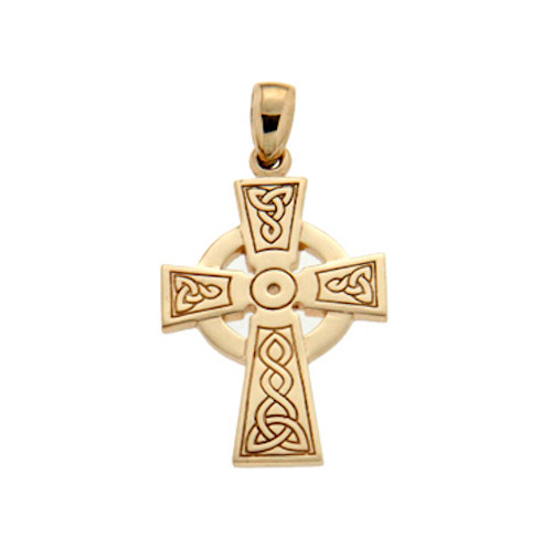 10K Yellow Gold Celtic Cross Pendant By KEITH JACK PCRG3047-10K