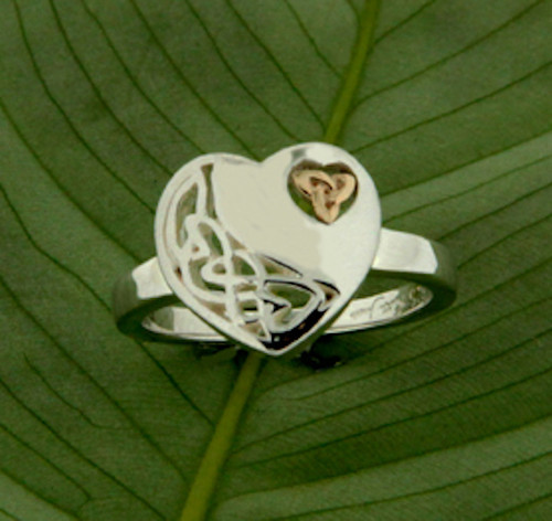 Sterling Silver with 10k Yellow Gold Heart Ring