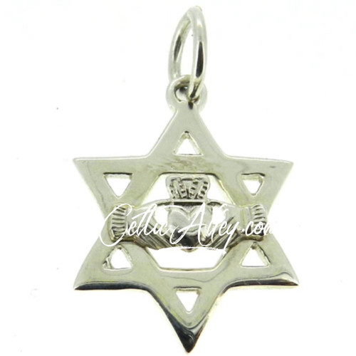 S/S Star of David Claddagh Pendant