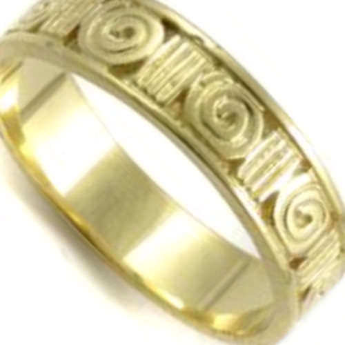 10k Yellow Gold Newgrange Celtic Band Ring Hand Made In Ireland