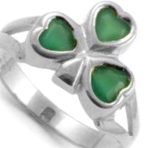 S/S Ladies Shamrock Ring with Green Stone
