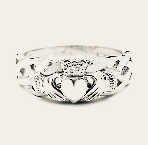 S/S Ladies Celtic and Claddagh Ring Hand Made In Ireland (S0263C)  Sterling Silver