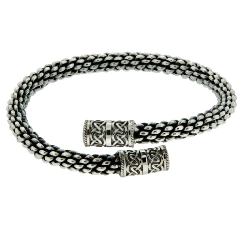 """Sterling Silver  Celtic Torc Twist 8.5"""" Bangle By Keith Jack PBS7650-8.5"""