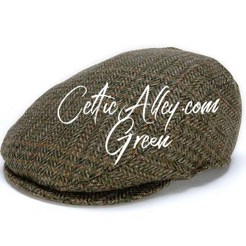 Hanna Hat Donegal IRISH Tweed Tailor Cap in GREEN Check HandMade in Ireland