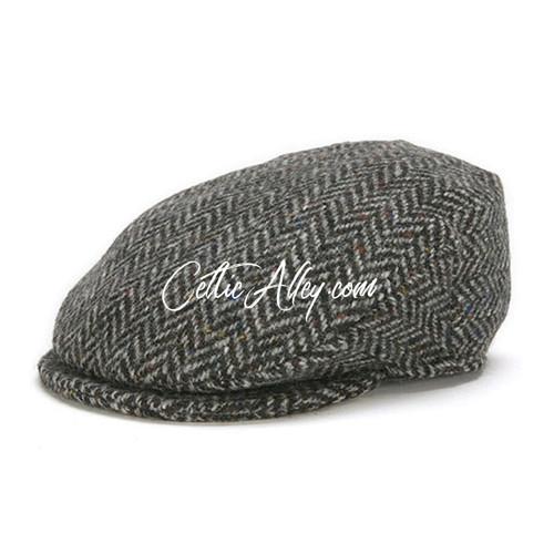 Hanna Hats of  Donegal Tweed Vintage Cap in BLACK Herringbone HandMade in Ireland
