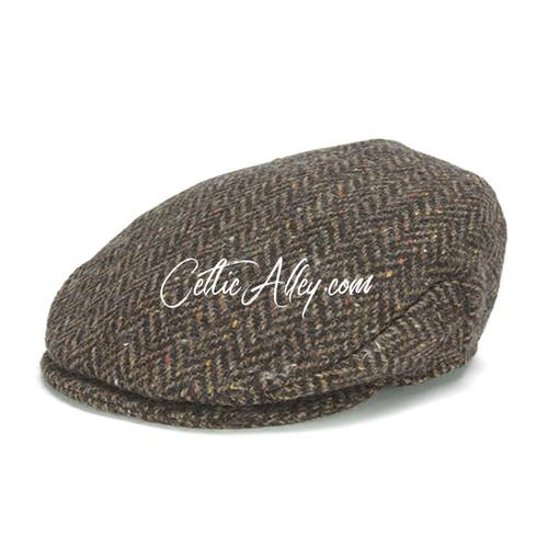 Hanna Hats of Donegal Tweed Vintage Cap in BROWN Herringbone HandMade in Ireland
