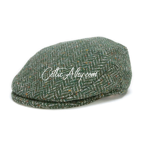 Hanna Hats of Donegal Tweed Vintage Cap in GREEN Herringbone HandMade in Ireland