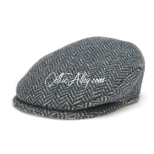 Hanna Hats of Donegal Tweed Vintage Cap in BLUE Herringbone HandMade in Ireland